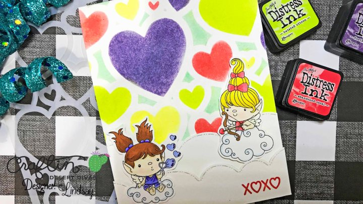 Multi Color Stenciling – Hugs & Kisses
