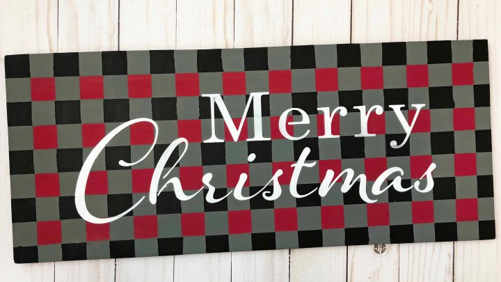 A Checkerboard Christmas Sign