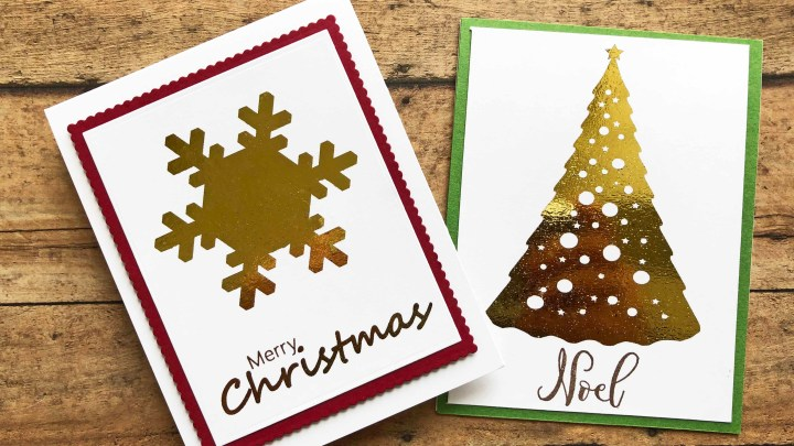 DIY Foiled Christmas Cards with Free Printables