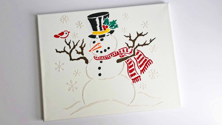 DIY Christmas Decor – Stenciled Snowman Canvas