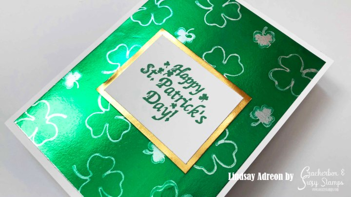 Rinea Foil Paper with a Shamrock Background made with Ghost Ink!
