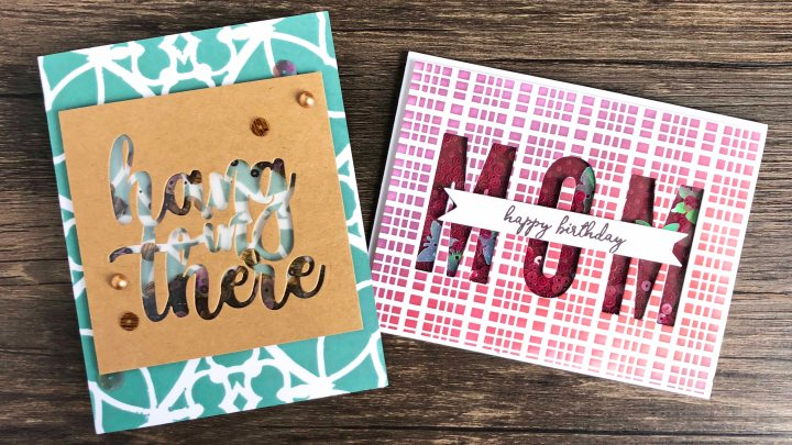 Sentiment Shaker Cards with Stenciled Backgrounds