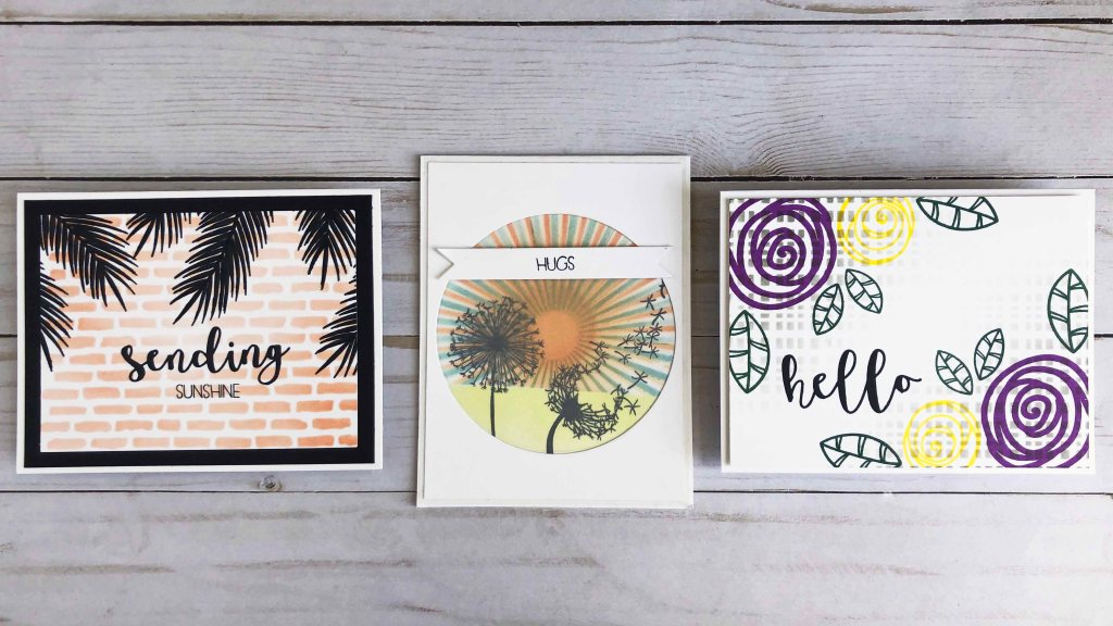 Stamping over stenciling is a super easy technique that allows you to make beautiful one layer cards.