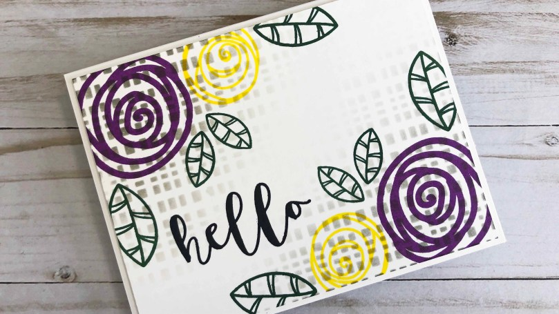 The Hello Sentiments stamp set is perfect for stamping over stenciling. It's nice and bold and truly stands out on this one layer card!