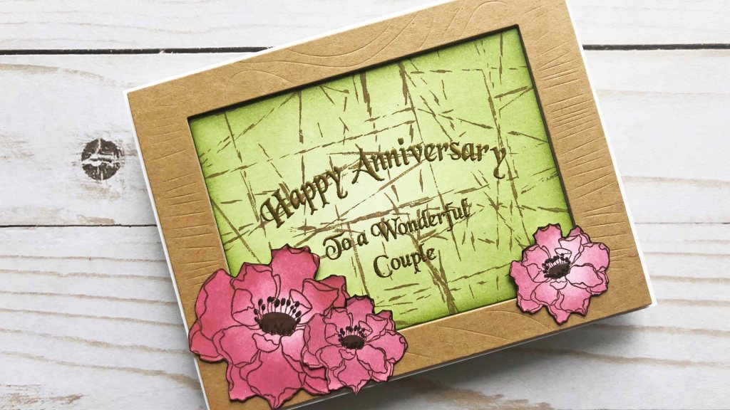 Anniversary Card with Rubber Band Stamping technique