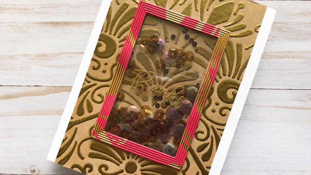 Fantastical Stencil with Gold Embossing Powder - Shaker Card
