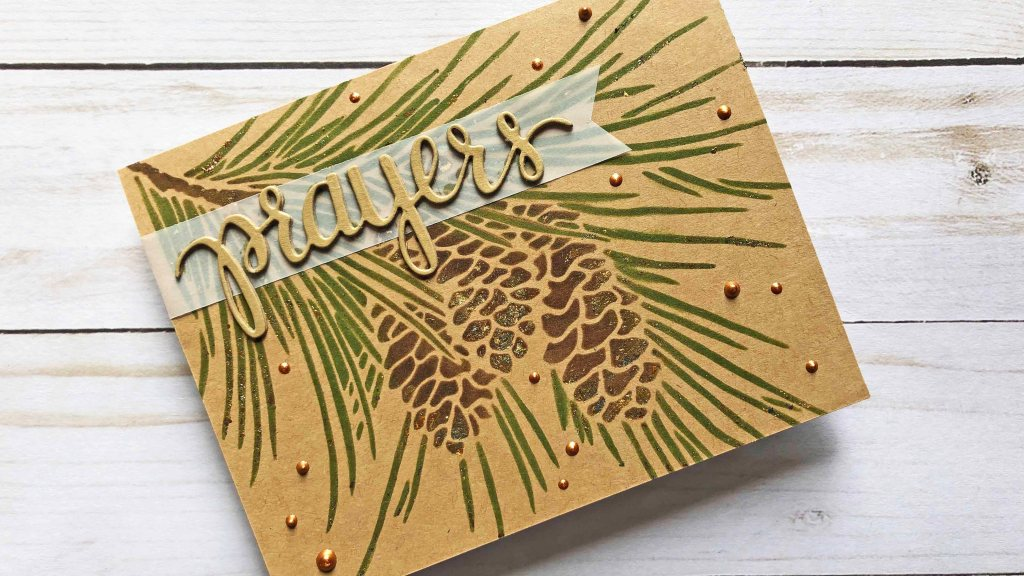 Fir Branch Stencil with Distressed  Gilding Flakes