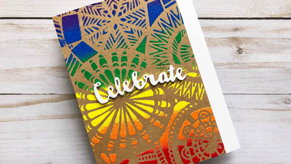 Floral Spectacle Stencils with Rainbow Heat Embossing