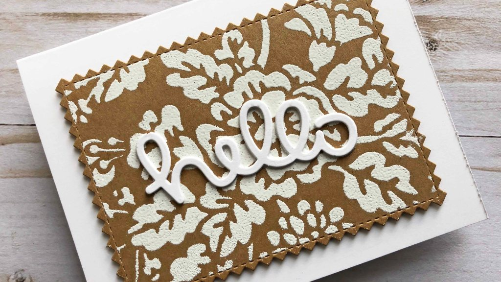 White Embossing powder with Growing Wild Stencil. Lace effect.