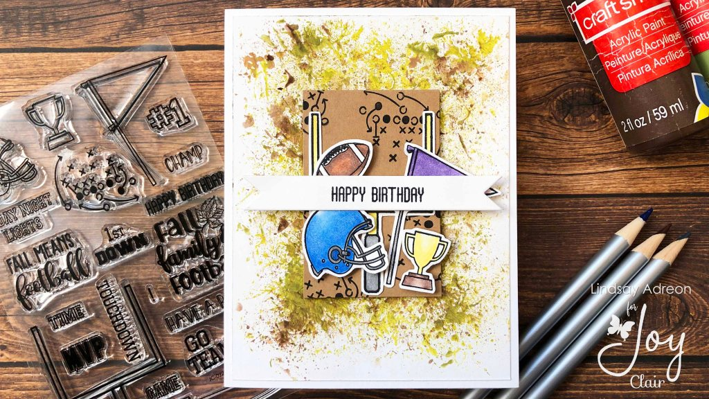 Finished card with acrylic paint smooshed background and the Fall Family Football stamp set.