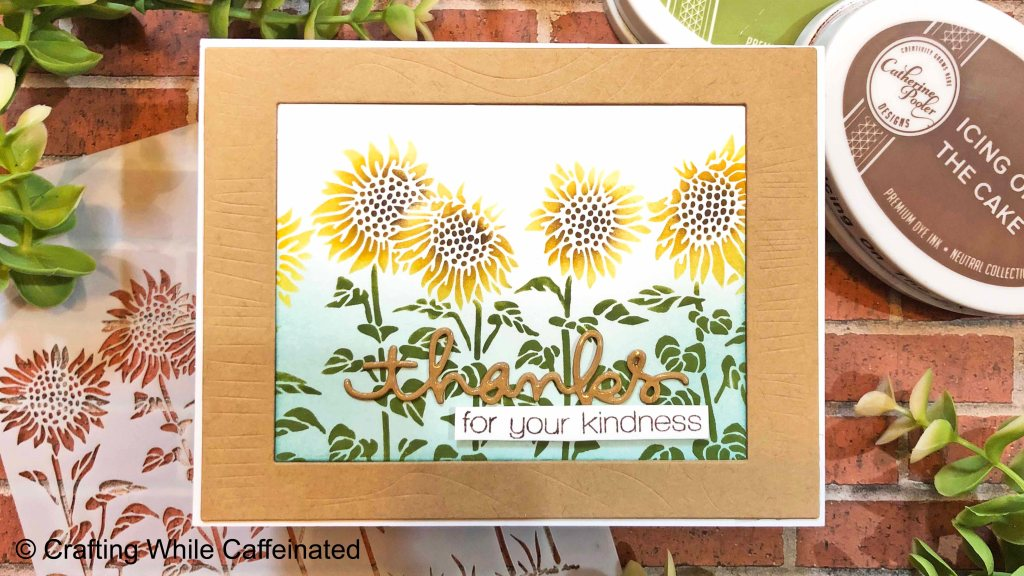 Sunflower Meadow Stencils with Wood Grain frame. Thanks for your kindness sentiment