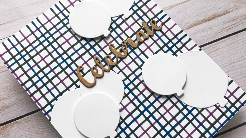 A masculine clean and simple birthday card with Tattersall patterned background.