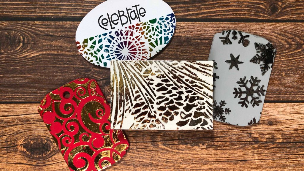 Foiling with Hot Foil Gel & Stencils on Wooden Tags