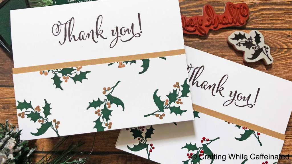 Even when making card sets you can change some elements to keep the process intereting. Using different embellishments on these Christmas Thank You Cards is the perfect way to make each one a little different!