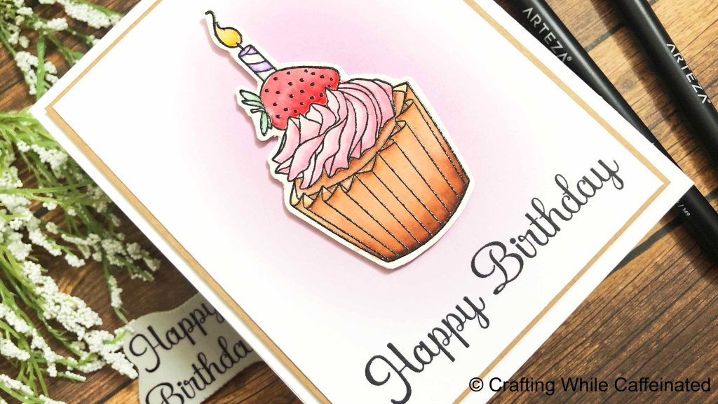 Easy Handmade Birthday Card with rubber stamps from Crackerbox & Suzy Stamps