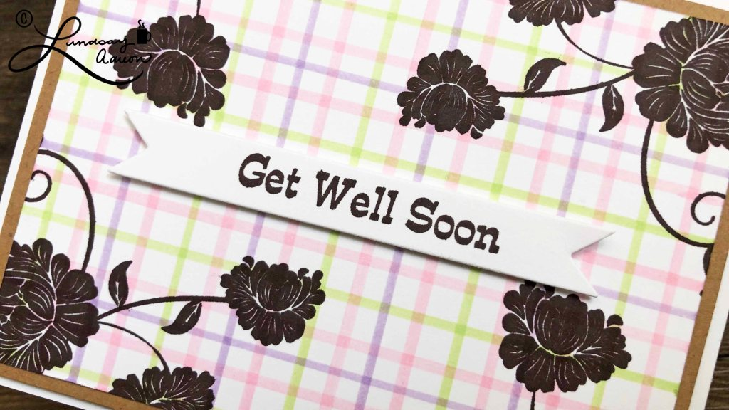 Get Well Soon Handmade Card with Tattersall Marker Background