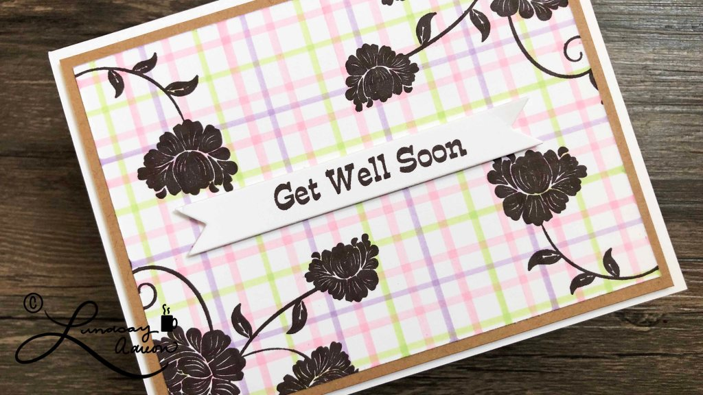Get Well Soon Handmade Card stamped with Flower Swirl rubber stamps.