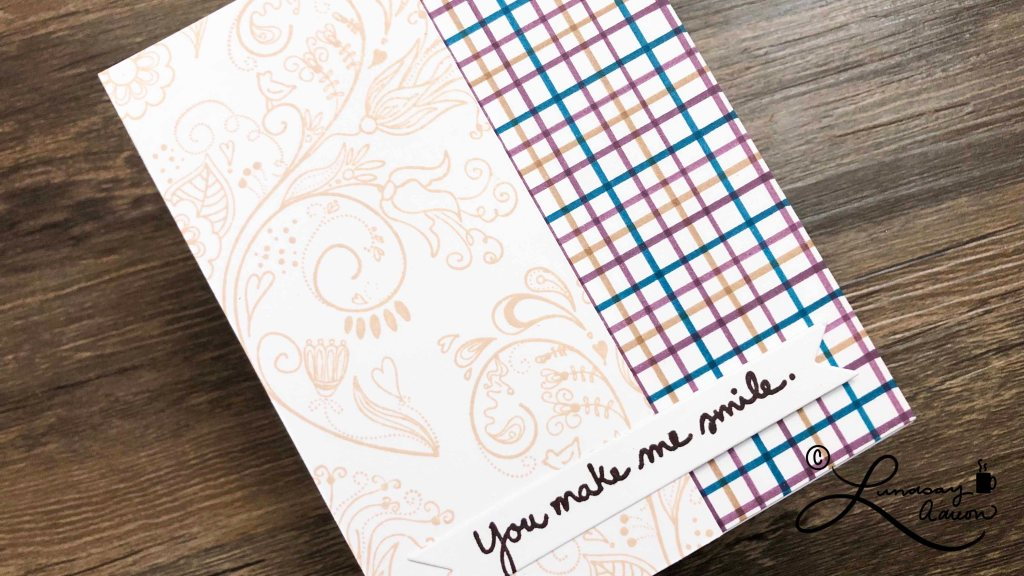You Make Me Smile Handmade Card. Flower Flourish stamped with Desert Sand ink.
