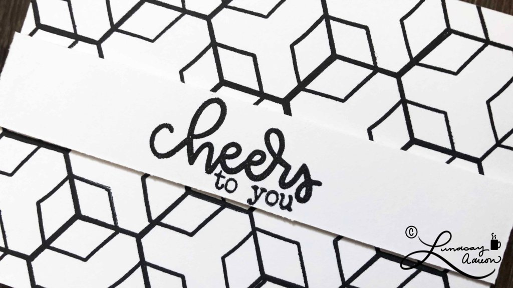 The Cheers to You sentiment is built from the sentiments included in the Cheerful Hexies stamp set. I love the monochromatic look of this 3D card!