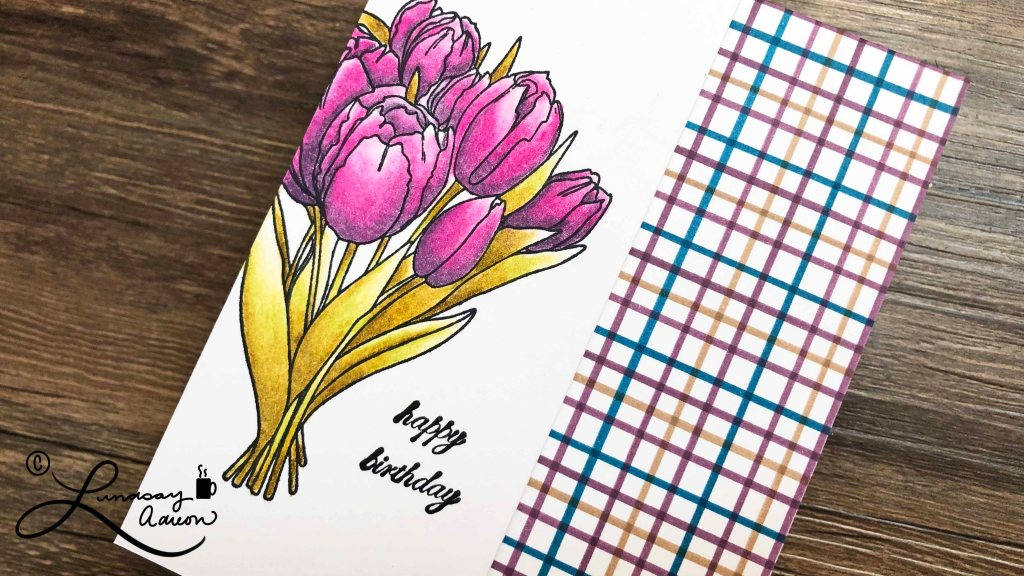 Happy Birthday Handmade Card. Stamped with Tulips Stamp and colored with colored pencils and OMS.