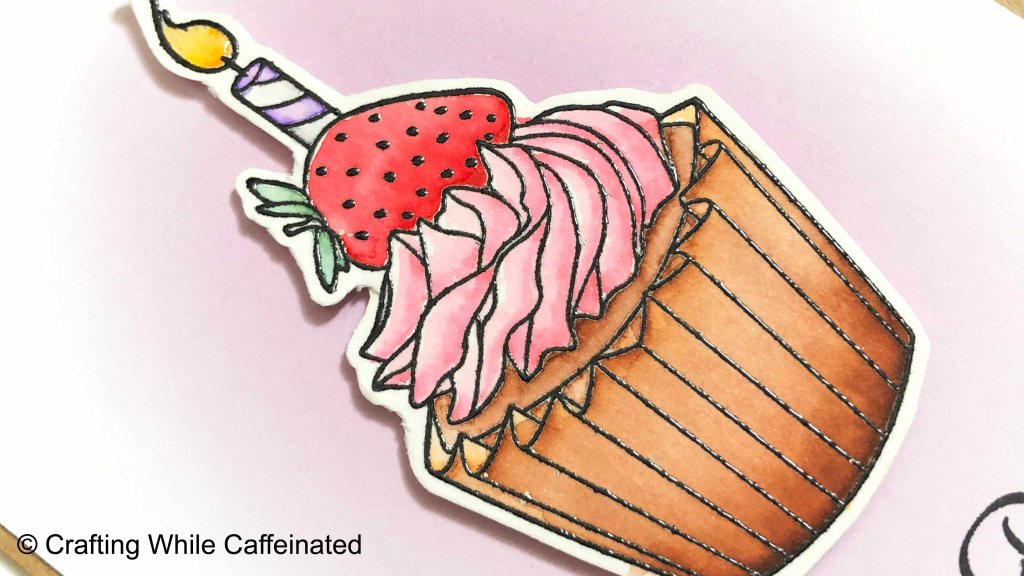 "Crackerbox & Suzy Stamps ""Cupcake with Strawberry"" rubber stamp colored with Arteza Real Brush Markers."