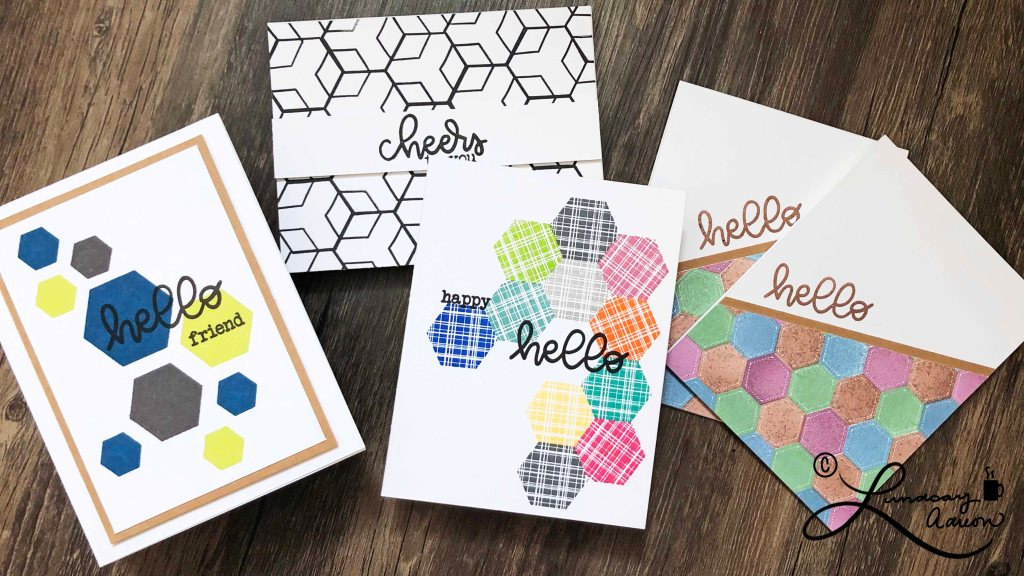 Pattern Stamping - Easy Hexagon Patterns with the Cheerful Hexies stamp set from Sweet 'n Sassy Stamps