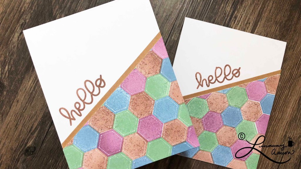 A handmade Hello card with stamped background made to resemble a quilt.
