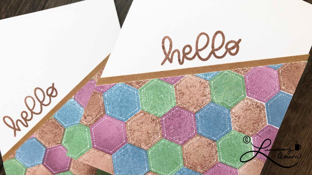 This hand stamped quilted background is easy and can be changed up on each handmade card just by switching the color combination!