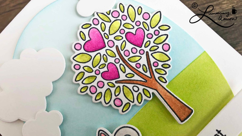 Die cut tree from My Favorite Things Wonderful Woodland Friends stamp set. The image is colored with Prismacolor Colored Pencils and OMS