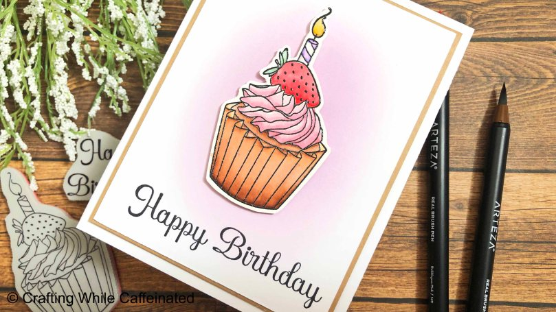 A simple and easy handmade birthday greeting card with hand stamped images from Crackerbox & Suzy Stamps.