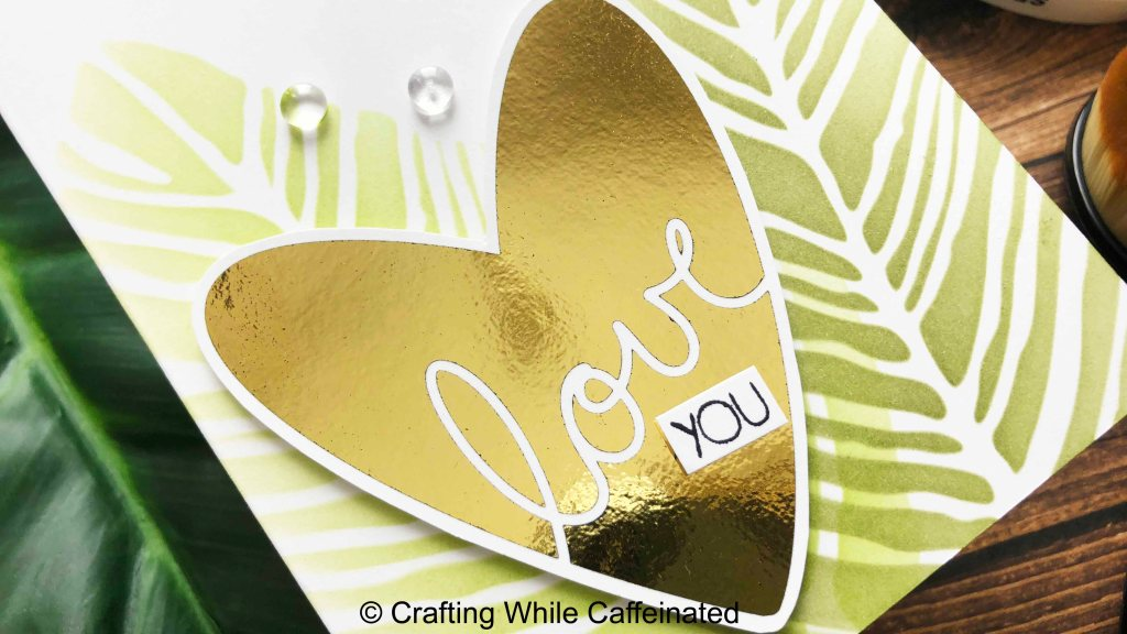 Free foiling printable on a quick valentine's day card.
