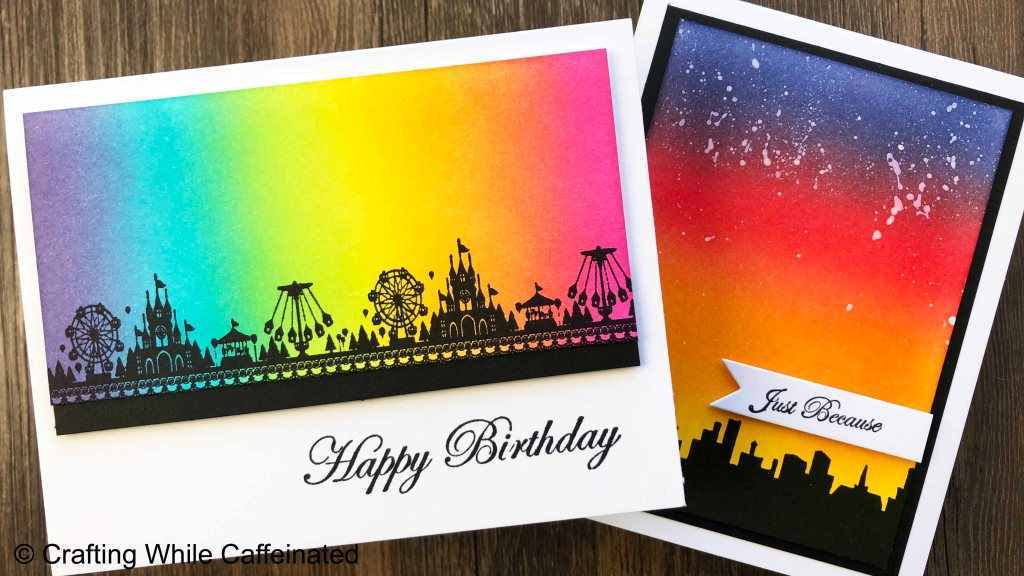 Easy Silhouette scene making with solid stamps. I love adding ink blended backgrounds to make these handmade greeting cards super quick!