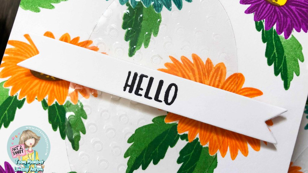 The simple hello sentiment on a flag banner is the perfect way to finish this set of handmade cards.