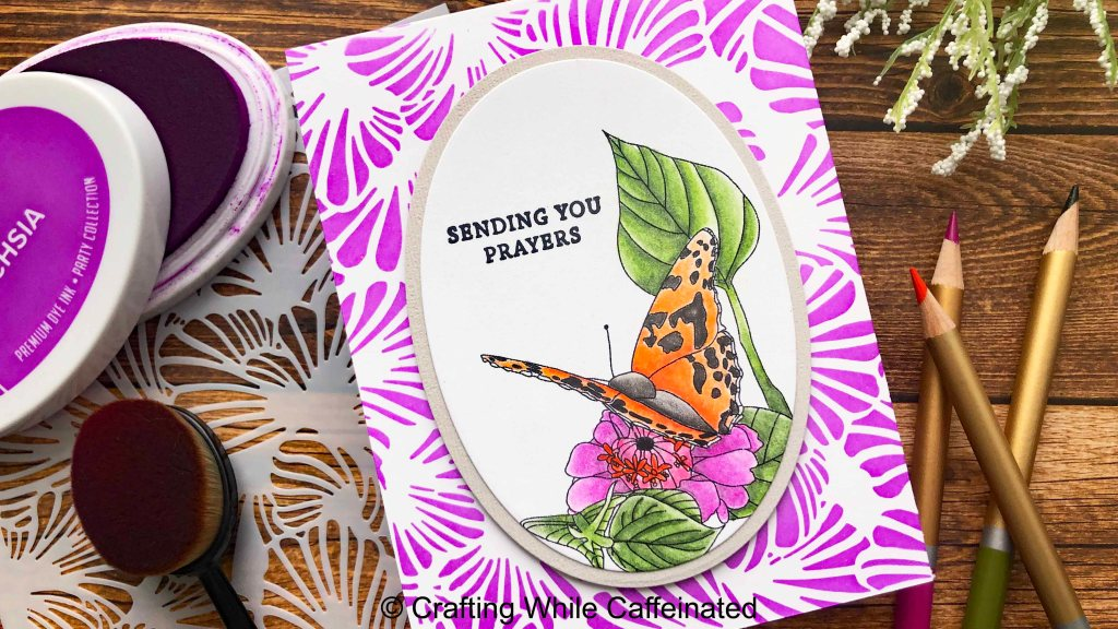 A handmade greeting card with a digital stamped image, colored with colored pencils and OMS.