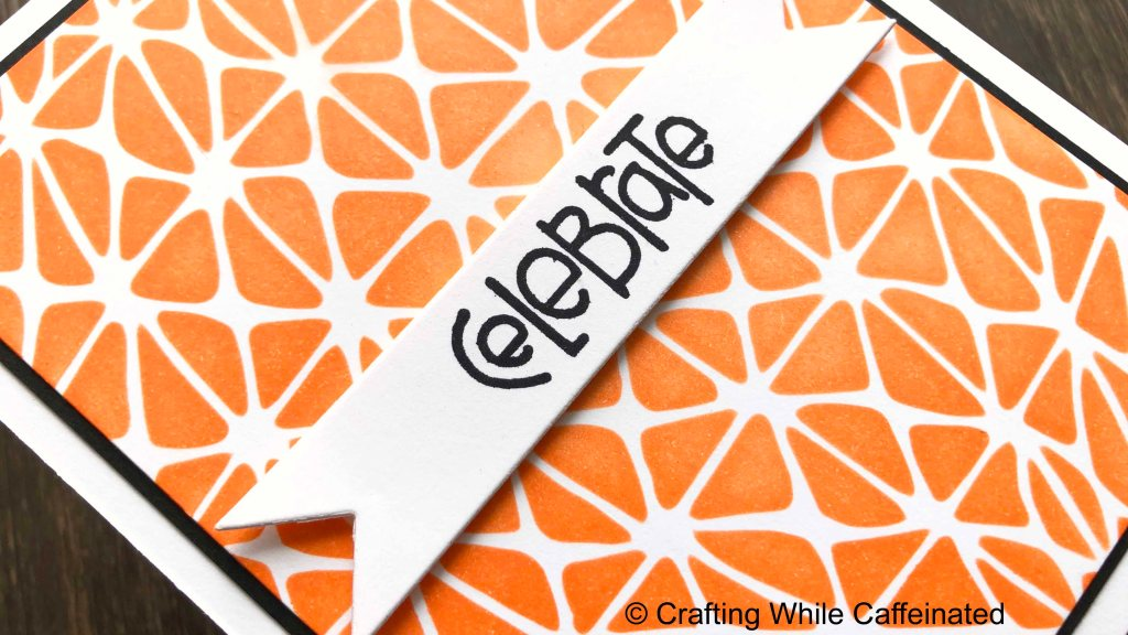 Add a senitment with a fun font is the perfect final touch to this stenciled handmade card.