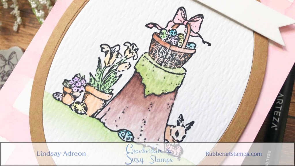 Watercoloring this easter scene was so much fun! I wanted it to have an old time storybook feel with light washed out colors. I used my Arteza Brush Markers and really diluted them!