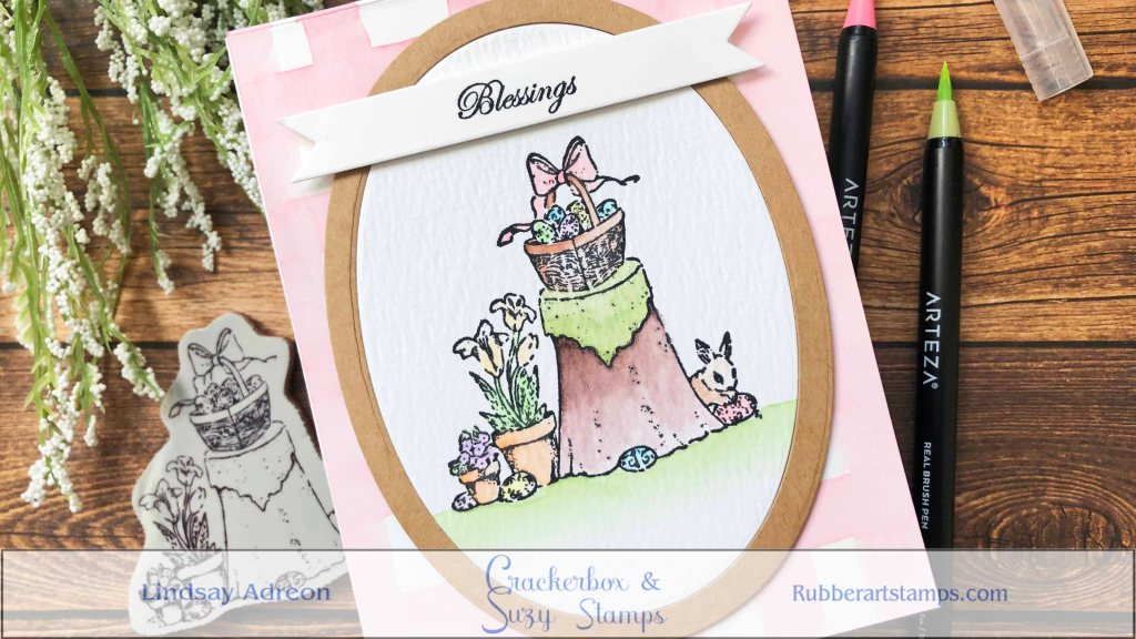A handmade Easter Card! Made with rubber stamps from Crackerbox & Suzy Stamps.