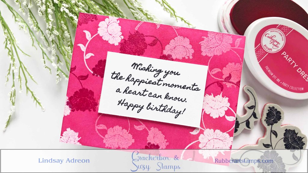 A handmade birthday card with an ink trapped background.