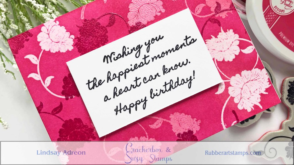 Adding a stamped sentiment is the only addition this bright background needed to complete the handmade greeting card.