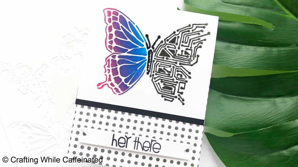 A handmade greeting card with selective stenciling. The Nature's Circuitry stencil is perfect for this cardmaking technique!