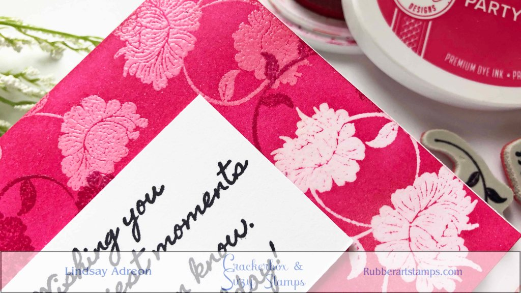 Using different tones and saturations of pink inks creates this fun ink trapped background!