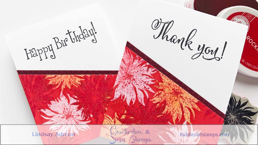 Large sentiments fill the top of the handmade cards and also take a little of the focus off the bottom of the cards.