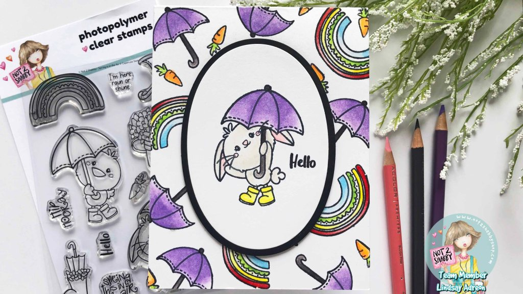 A simple handmade card with coloring and stamping. This adorable card was made with the new Rain or Shine stamp set from Not 2 Shabby stamp shop!