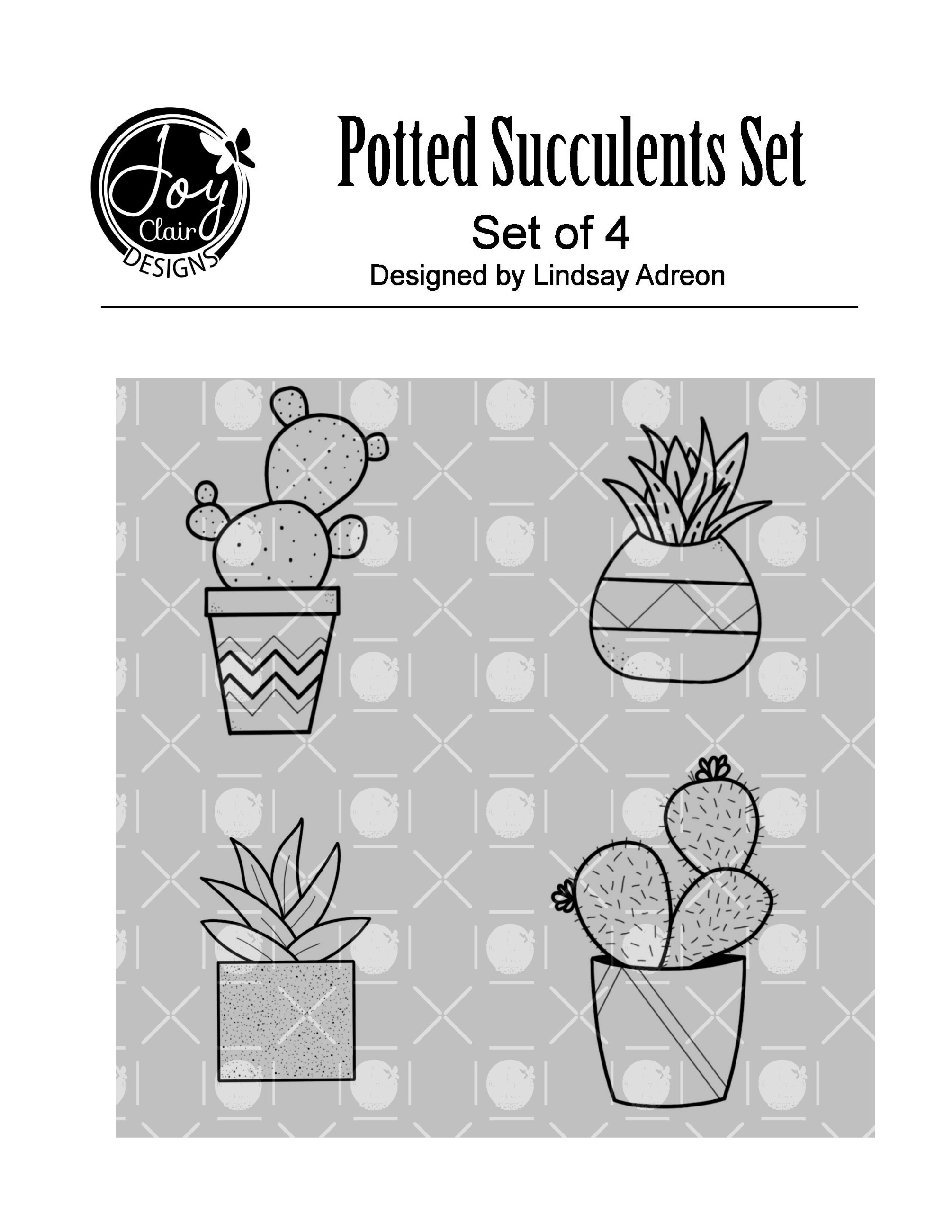 Potted Succulents Digital Stamp Set