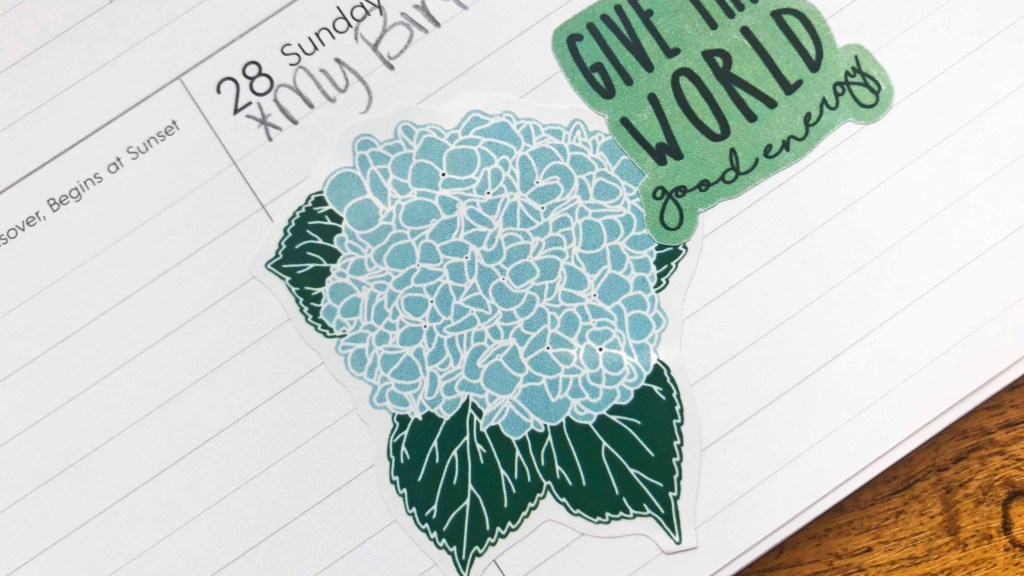 I love using my free sticker printables in my planners, like I did here. I paired the hydrangea image with an encouragement sticker! (coming soon!)