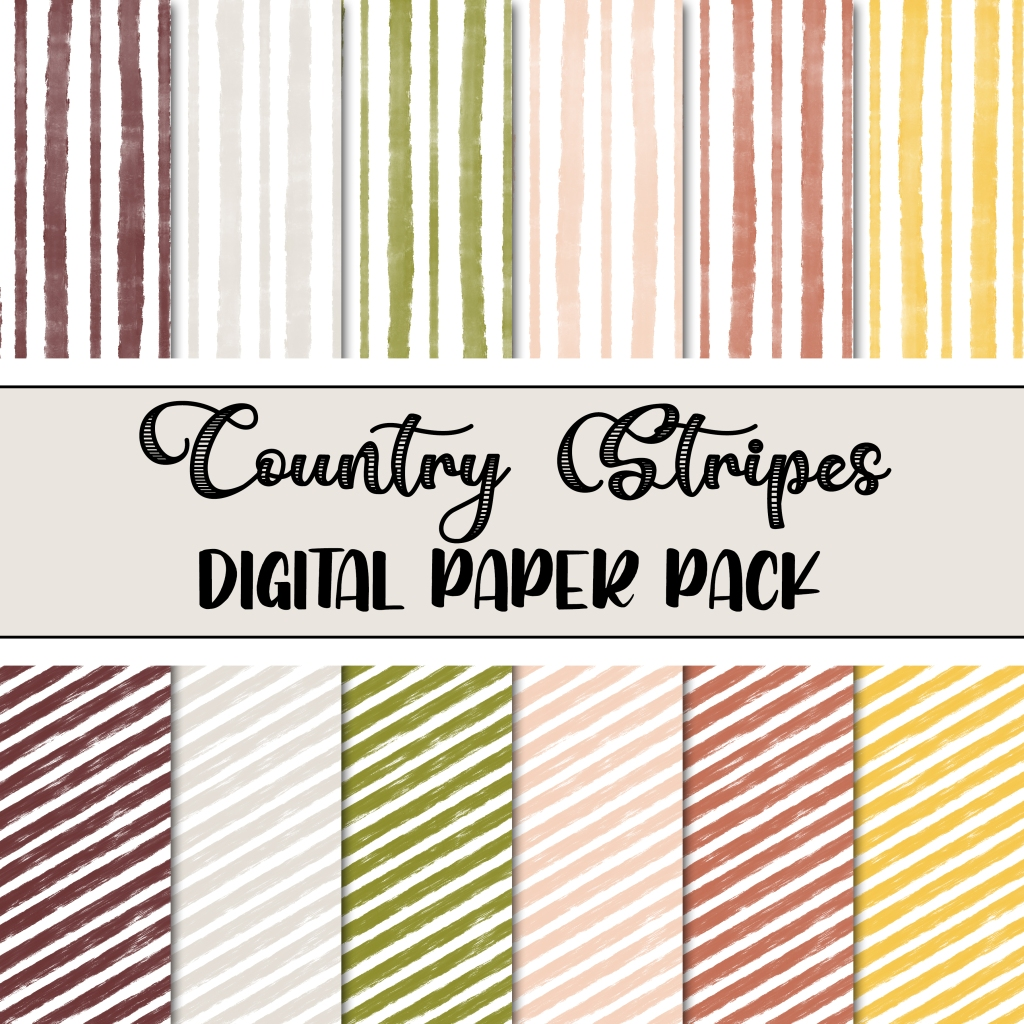 Country Stripes FREE Digital Paper Pack. Use these digital papers in your digital scrapbooking, or print them off and use them just like any other cardstock!