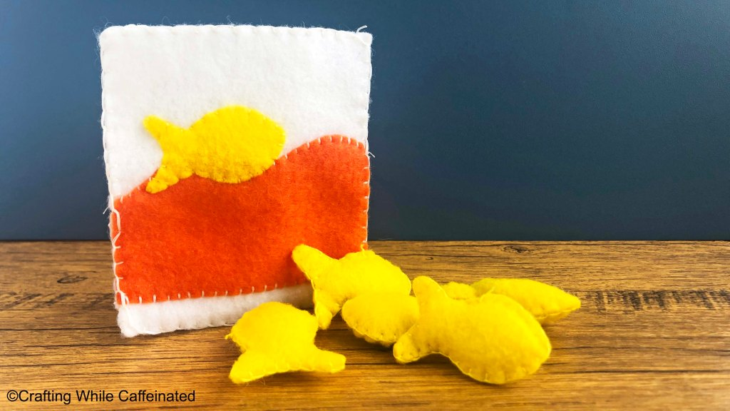 The goldfish bag and crackers made from the free felt food pattern.