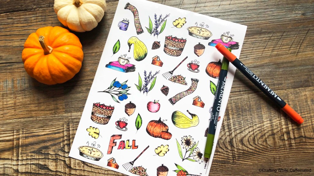 Free fall printable sticker sheet. These images are hand drawn and colored with colored pencils. Then digitized and ready to be printed and used in planners, on cards, etc!