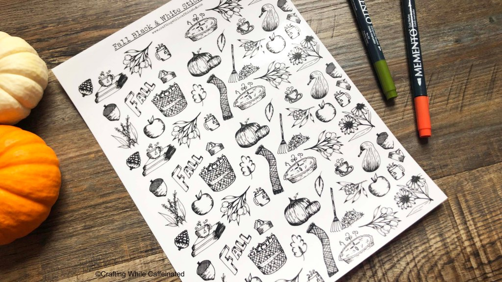 Black and white sticker sheet free printable. This sticker sheet is black and white in format so you can add your own color, or leave as is for a monochromatic look!