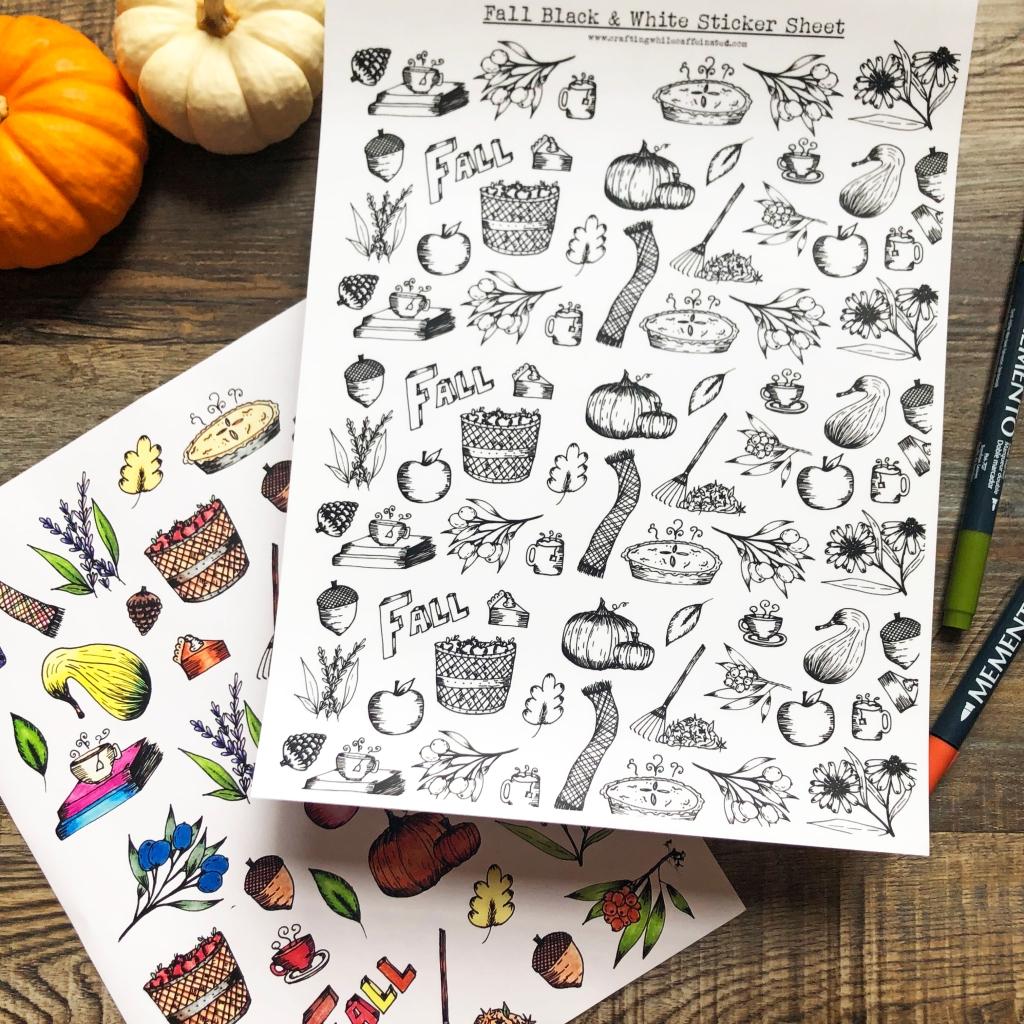 FREE Fall printable sticker sheets. Colored and black and white versions. Images include scarf, pumpkins, pie, flowers, apples, acorns,rake and leaves and so much more!
